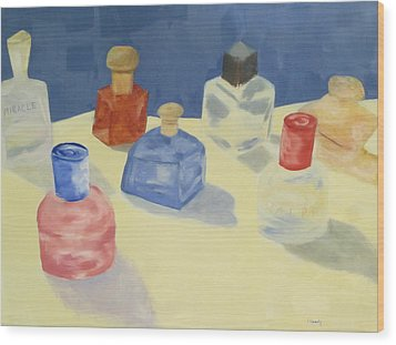Perfume Bottles Wood Print by Patricia Cleasby