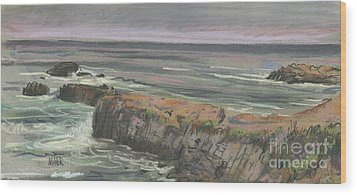 Wood Print featuring the painting Pescadero Beach by Donald Maier