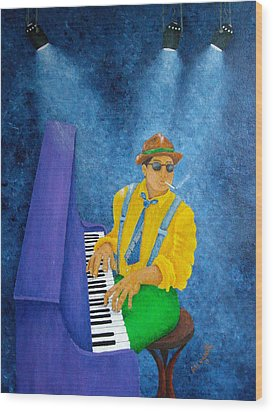 Piano Man Wood Print by Pamela Allegretto