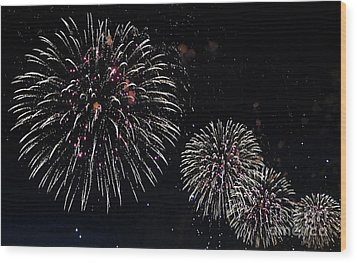 Wood Print featuring the photograph Pink Fireworks by Lilliana Mendez