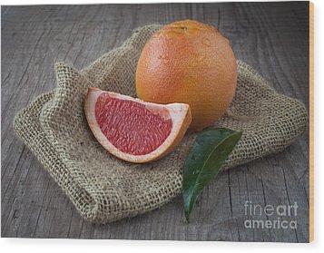 Pink Grapefruit Wood Print by Sabino Parente