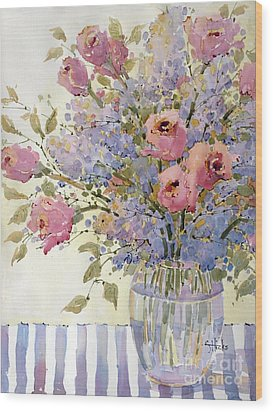 Pink Roses And Lilacs Wood Print by Joyce Hicks
