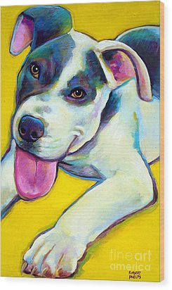 Wood Print featuring the painting Pit Bull Puppy by Robert Phelps