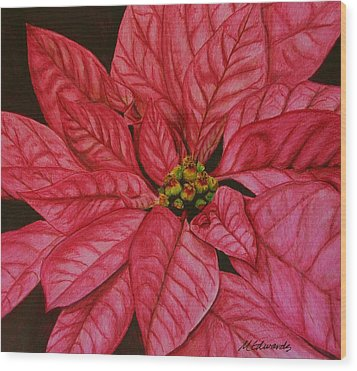 Poinsettia Wood Print by Marna Edwards Flavell