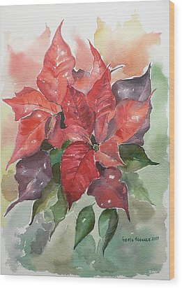 Poinsettias Wood Print by Geeta Biswas