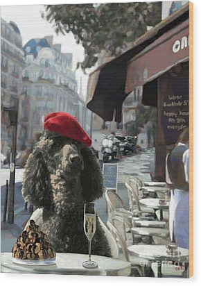 Poodle In Paris Wood Print