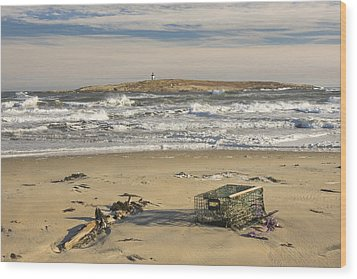 Popham Beach On The Maine Coast Wood Print