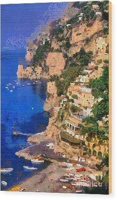 Positano Town In Italy Wood Print