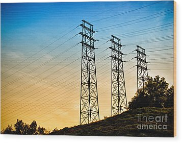 Power Lines Wood Print by Amy Cicconi