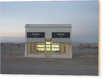 Prada Marfa Wood Print by Greg Larson