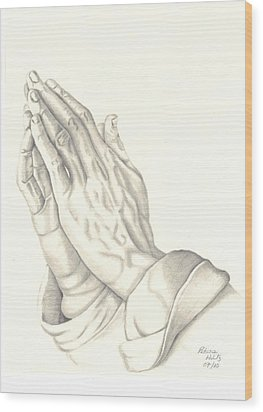 Wood Print featuring the drawing Praying Hands by Patricia Hiltz