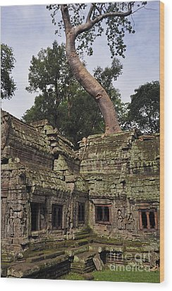 Preah Khantemple At Angkor Wat Wood Print by Sami Sarkis