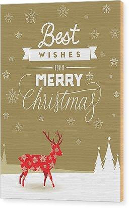 Red Deer Christmas Wood Print