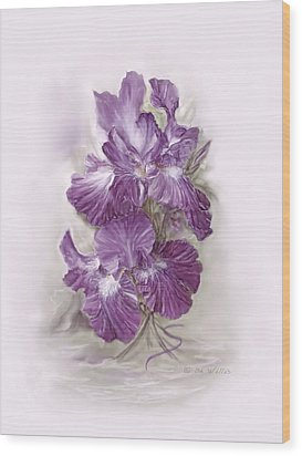 Purple Iris Wood Print by Bonnie Willis
