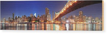 Queensboro Bridge And Manhattan Wood Print