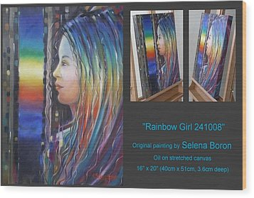 Wood Print featuring the painting Rainbow Girl 241008 by Selena Boron