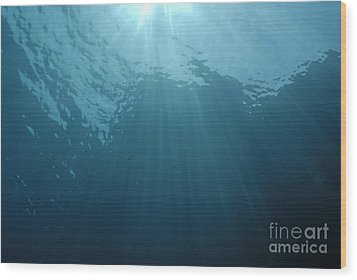 Rays Of Sunlight Shining Into Water Wood Print by Sami Sarkis