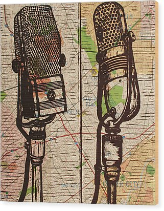 2 Rca Microphones Wood Print by William Cauthern