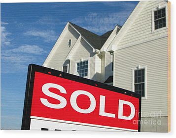 Real Estate Realtor Sold Sign And House For Sale Wood Print by Olivier Le Queinec