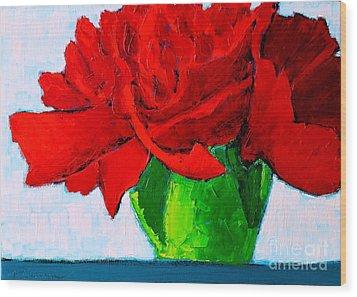 Red Carnation Wood Print by Ana Maria Edulescu