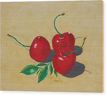 Wood Print featuring the painting Red Cherries by Johanna Bruwer