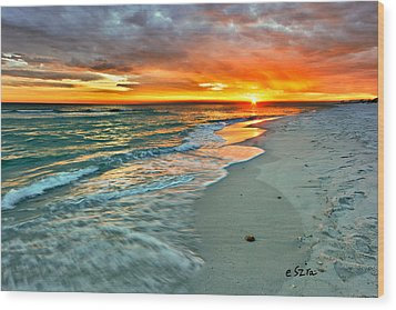 Red Orange Beach Sunset Wood Print by Eszra Tanner
