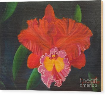 Wood Print featuring the painting Red Orchid by Jenny Lee