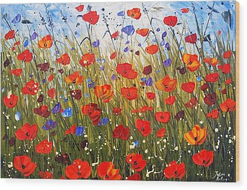 Red Poppifield Wood Print by Jolina Anthony