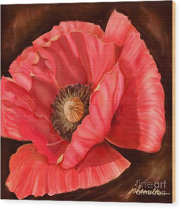 Red Poppy Two Wood Print by Joan A Hamilton
