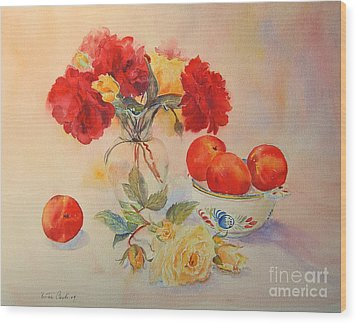 Wood Print featuring the painting Red Roses Jazz by Beatrice Cloake