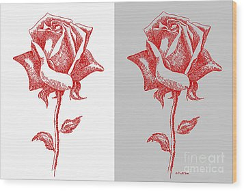 2 Red Roses Poster Wood Print by Gordon Punt