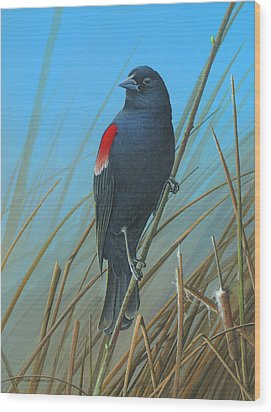 Wood Print featuring the painting Red-winged Black Bird by Mike Brown
