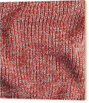 Red Wool Wood Print by Tom Gowanlock