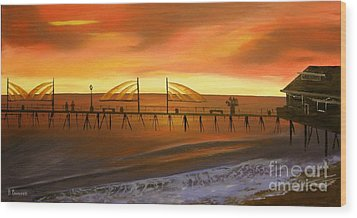 Redondo Beach Pier At Sunset Wood Print by Bev Conover
