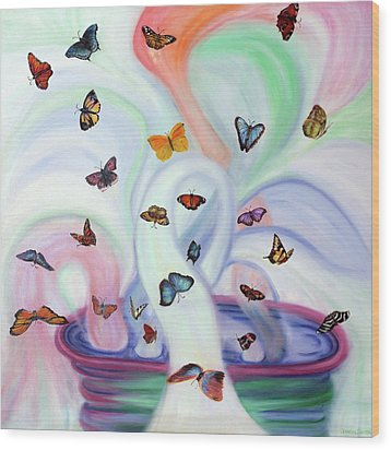 Releasing Butterflies Wood Print by Jeanette Sthamann
