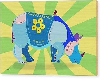 Rhino Wood Print by Mark Ashkenazi
