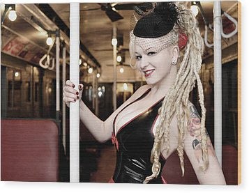 Ride The Pinup Express Wood Print by Jim Poulos