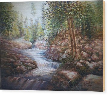 Wood Print featuring the painting River Falls by Laila Awad Jamaleldin