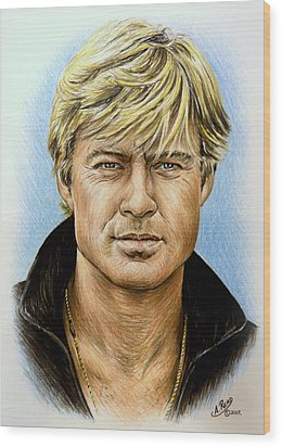 Robert Redford Wood Print by Andrew Read