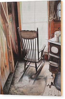 Rocking Chair Wood Print by S Aili