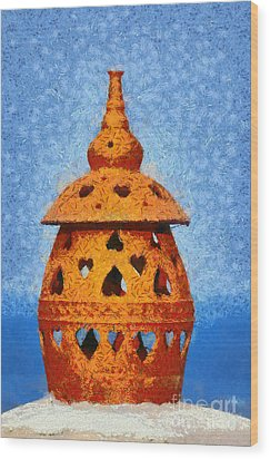 Roof Pottery In Sifnos Island Wood Print by George Atsametakis