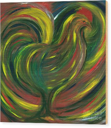 Rooster Wood Print by Fanny Diaz