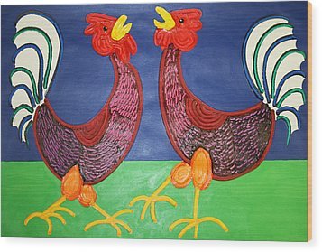 2 Roosters Wood Print by Matthew Brzostoski