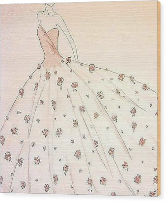 Rose Ball Gown   Wood Print by Christine Corretti