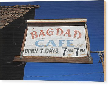 Route 66 - Bagdad Cafe Wood Print by Frank Romeo