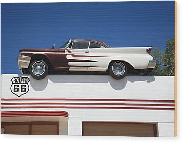 Route 66 - Desoto's Salon Wood Print by Frank Romeo
