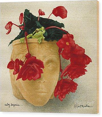 Ruby Begonia... Wood Print by Will Bullas