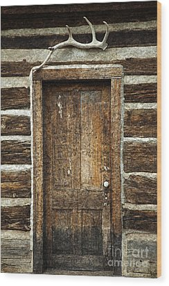 Rustic Cabin Door Wood Print by John Stephens