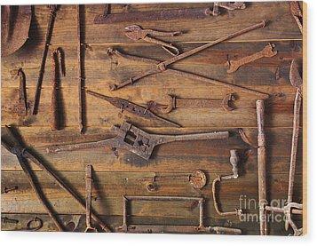 Rusty Tools Wood Print by Carlos Caetano
