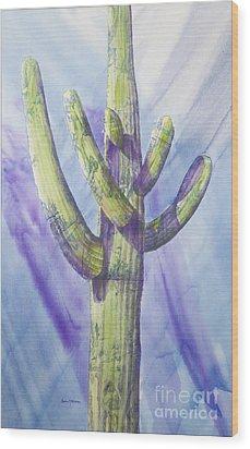 Saguaro In Winter Wood Print